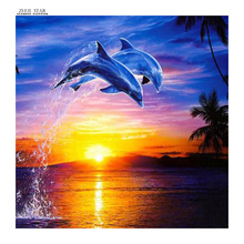 5D Round Full Diamond Painting Dolphin  Diamond Mosaic Embroidery Cross Stitch Handmade Crafts Home Decoration AA144