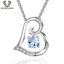DOUBLE-R Genuine Natural Blue Topaz Pendants Real 925 Sterling Silver Heart Pendant necklaces Gemstone Fine Brand Jewelry(China)