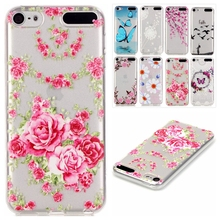 Slim Fashion Transparent Cute Painted Flower Soft TPU Back Cover Silicone Phone Case Shell For Apple Case iPod Touch 5 touch 6