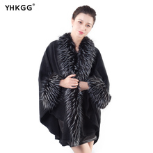 YHKGG 2017 Winter Warm Black Faux Fur Poncho Long Cardigan Women Knitted Double layer Sweater Female Cape(China)