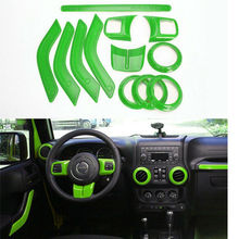free shipping 3 colors 12 pic Interior Mouldings Full Set Interior Decoration Trim Kit  For Jeep Wrangler Cab 4 Door 2011 - 2015