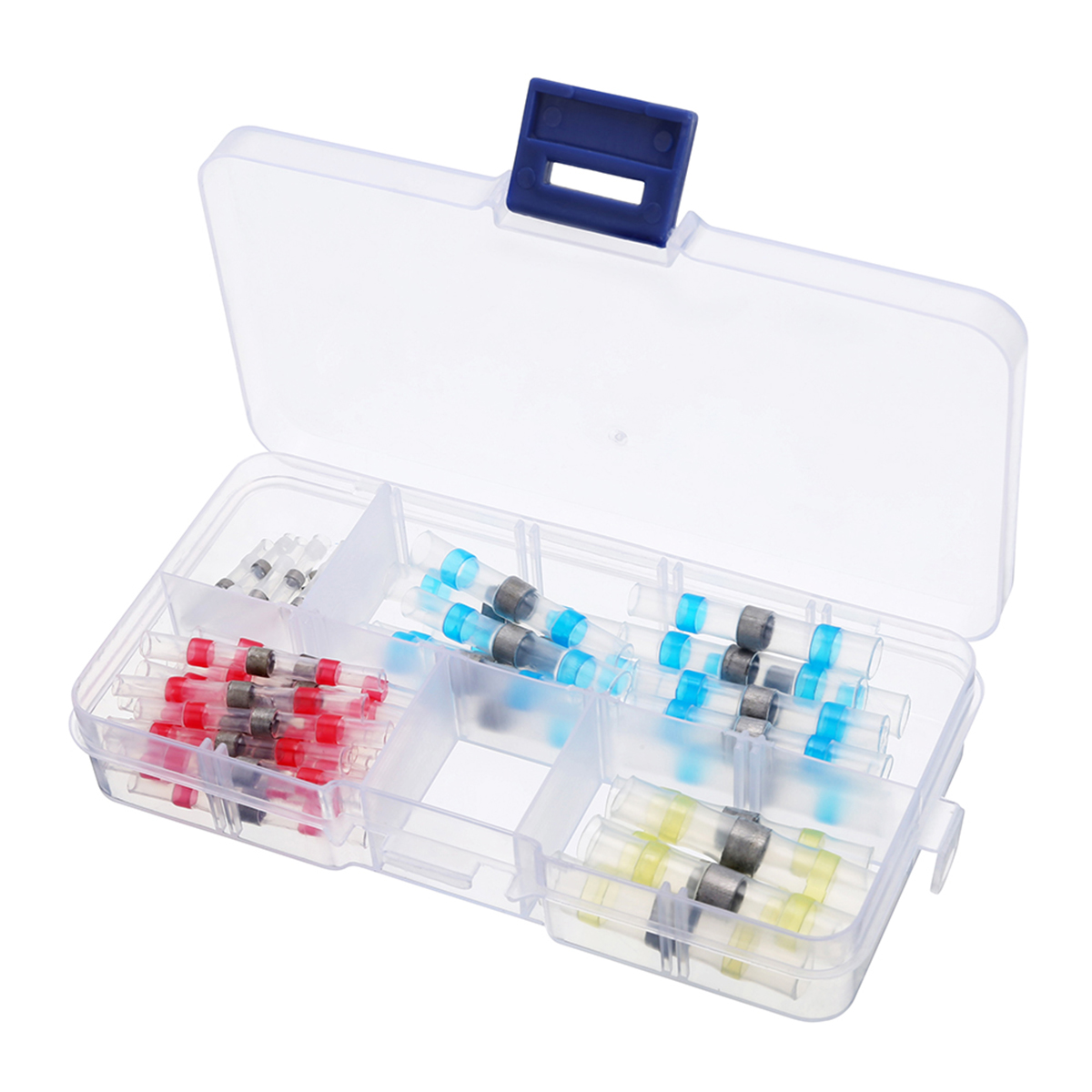 100Pcs Heat Shrink Solder Sleeves with Case Solder Heat Shrink Sleeves Splice Butt Connector Electrical Wire Crimp Terminals