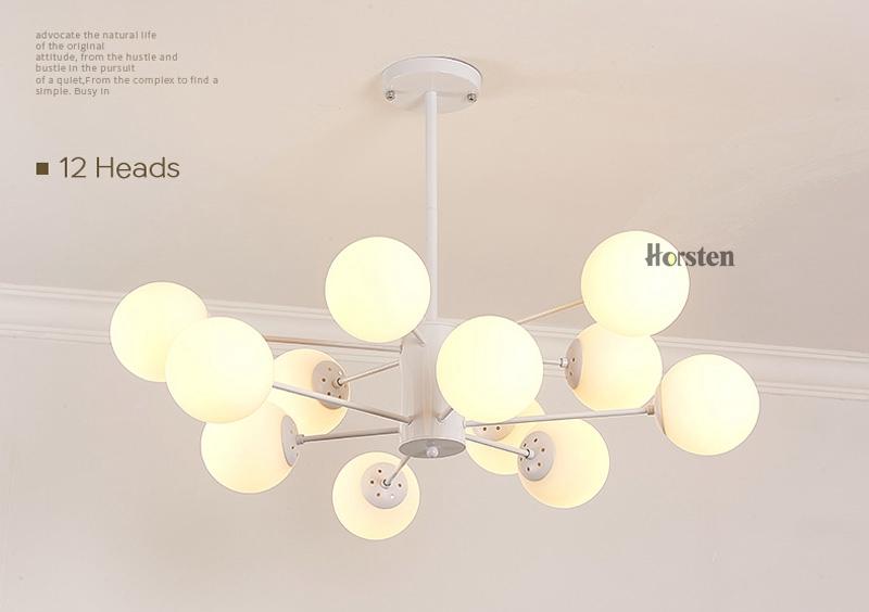 Horsten Nordic Creative Magic Bean Pendant Lights 6812 Heads Glass Ball Pendant Lamp For Living Dining Room Cafe Restaurant E27 (11)