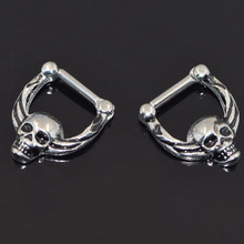 Septum clicker nose piercings jewelry 316L Septum Clicker Hinged Skull Nose Ring Septum faux septum rings