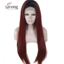 Ombre Wine Red Lace Front Wigs Synthetic, Burgundy 2 Tones Dark Roots Long Straight Glueless Lace Wig For Women 24inch(China)