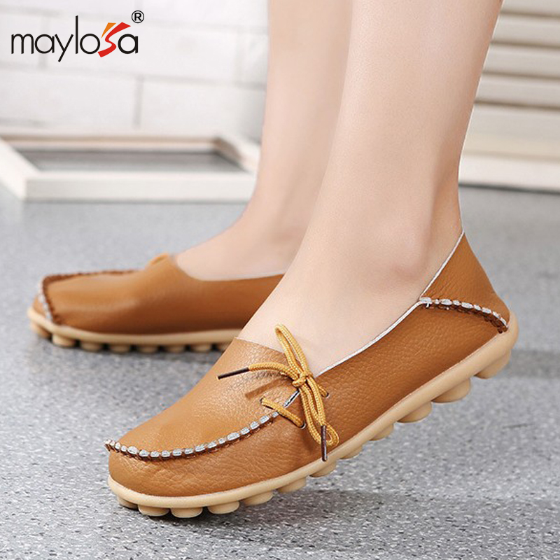 2016 New Genuine Leather  Women Flats Moccasins Loafers Wild Driving women Casual Shoes Leisure Concise Flat shoes In 15 Colors<br><br>Aliexpress