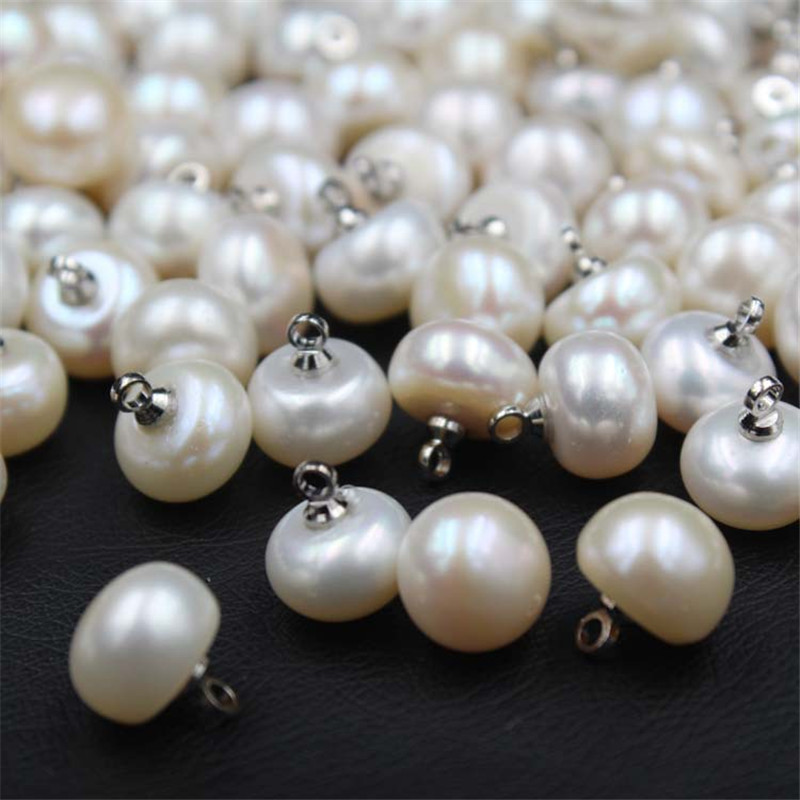 50Pcs White Faux Pearl Dome Buttons Wedding Bridal Clothes Sewing Decor 9mm
