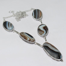 Botswana Agates Necklace Silver Overlay over Copper ,48.3cm, N1293(China)