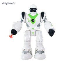 Abbyfrank Green And Blue Eletronic Robot Miniature Model Toys Simulation Walking Musical Action Figure Interactive Toy For Kids(China)