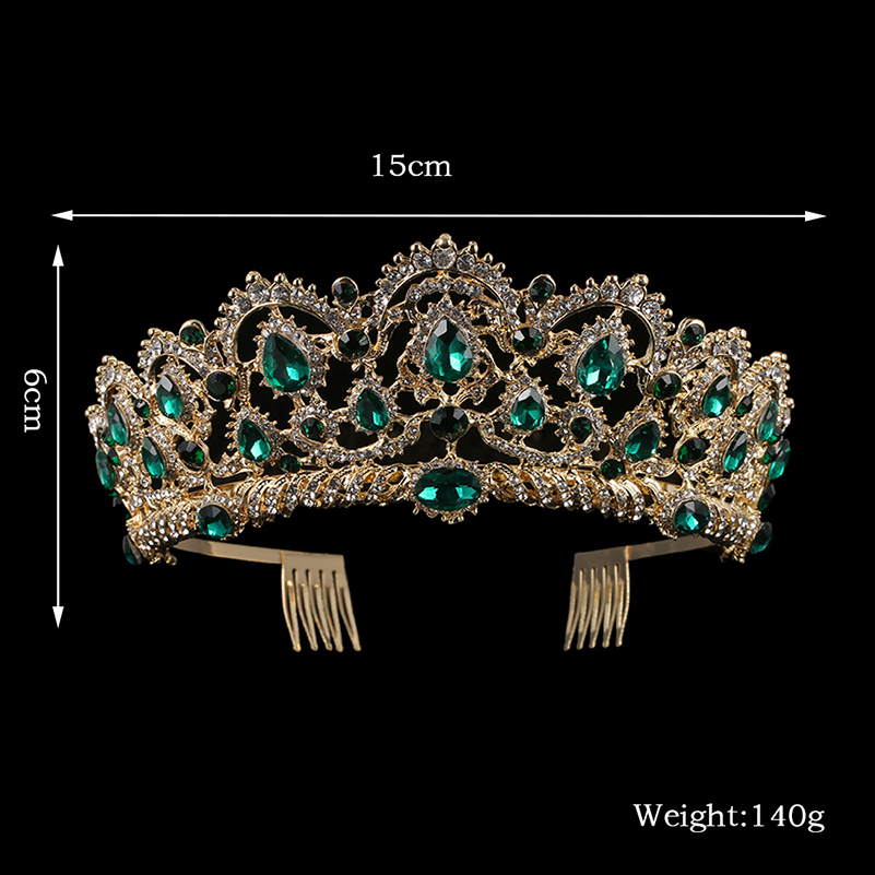 KMVEXO European Drop Green Red Crystal Tiaras Vintage Gold Rhinestone Pageant Crowns With Comb Baroque Wedding Hair Accessories 2