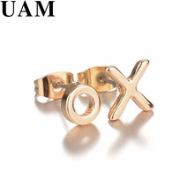 UAM Minimalist Gold/Silver Celebrity Style XO Letter Stud Earrings New Fashion Women Female Party Gift Earring Jewelry(China)