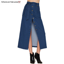 A Forever 2017 Spring New Women Denim skirts Long Skirt High Waist Jeans Maxi Skirts Saias jeans Longa Feminina Casual Skirt 995