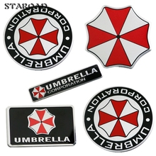 Car-styling Accessories 3D Umbrella Aluminum Emblem Badge Car Decor For BMW AUDI VW Ford Car Cover Motorcycle Stickers Decals(China)