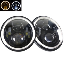Jeeps Wrangler Headlights 7 Inch Round LED Headlight Conversion Kit DLR Light Assembly For JK TJ FJ Hummer Motorcycle Headlight
