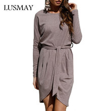 Batwing Long Sleeve Dress Autumn 2017 New Arrival Cotton Casual Dresses Women Clothing Fashion Asymmetrical Dress With Belt