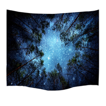Psychedelic Forest Trees and Stars Starry Sky Fabric Wall Hanging Tapestry Decor Polyester Curtains Plus Long Table Cover(China)