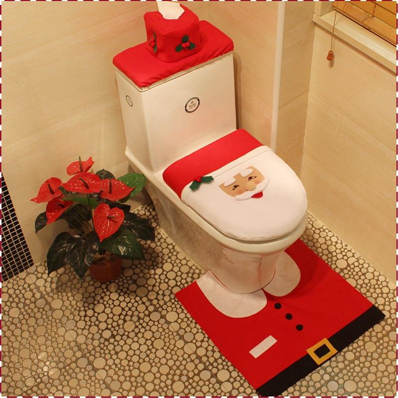3pc//Set Christmas Mat+Lid Cover Bathroom Warmer Toilet Closestool Seat Cover Pad
