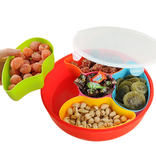 Double Serving Dish Fruits Nuts Snack Tray Holder Bowl Multi Compartment for Storage Candies Melon Seeds Cherries