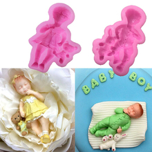 3D Boy Girl Doll Model Form Liquid Silicone Cake Molds Chocolate Moulds Pastry Ice Cube Soap Fondant Cake Decorating Tools(China)