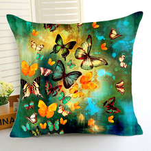 Comwarm Romantic Beautiful Colored Butterflies Pattern Polyester Cushion for Sofa Car Seating Living Room Home Decor Art(China)