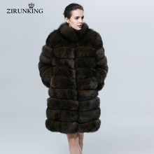 ZIRUNKING Winter Thick Warm Fur Coat Natural Blue Fox Fur Imitate Sable Color Stand Collar Fishion Luxury Women Clothing  ZC1602