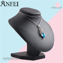 Anfei Leather Bust Model mannequin Show Bust necklace stand mannequin black Necklace Display stand for jewelry T03-2
