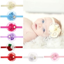 TWDVS Hair Accessories Newborn Rose Pearl Lace Flower  Headwear baby rhinestone Hair Bands Infant Children Baby Headband h033