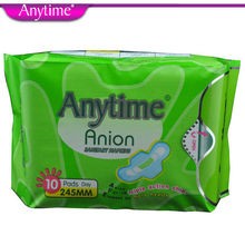 4 Packs = 40 Pcs Anytime Brand Soft Feminine Cotton Anion Active Oxygen And Negative Ion Sanitary Napkin For Women BSN04