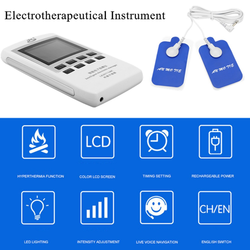 TENS Dual Channel EMS Pain Relief Electrical Nerve Muscle Simulator Digital Therapy Massager Physiotherapy Heating Body Health<br>