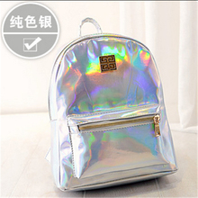 LACUS JERRY 2017 New Hologram Laser Backpack Girl Bag Shoulder Women Rainbow Colorful Metallic Silver Laser Holographic Backpack(China)