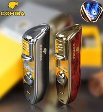 COHIBA brand metal 3 jet windproof Men's cigar gas Lighter,Portable refillable Butane torch turbo Lighter Cigar Cutter