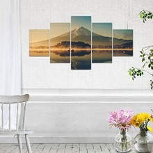 Artryst Large Canvas Wall Art 5 Panel Modern Painting and Prints Fuji Mountain Peaceful Lake Landscape Japanese Picture Set