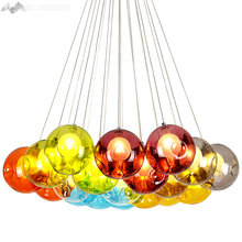 Modern simple Colorful glass ball pendant lamps glass pendant lights for living room restaurant bedroom home lighting fixtures(China)
