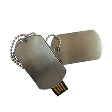 Free Shipping Dog Tag Shape 32gb USB Flash Drive Necklace Pen Drive Metal Memory Stick USB Flash Disk(China)