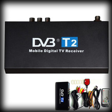 by dhl or ems 20pcs Dual antenna Car DVB T2 Mobile Digital TV Box External USB Car H.264 MPEG4 Receiver IR remote control