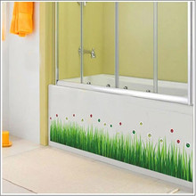Baseboard Green Grass Ladybug DIY Removable Wall Sticker Home Decor Living Room Bedroom Flower Home Decal