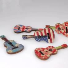 50PCS Rustic Wedding decoration Guitar style wooden button diy craft scrapbook candy box event party supply anniversary(China)