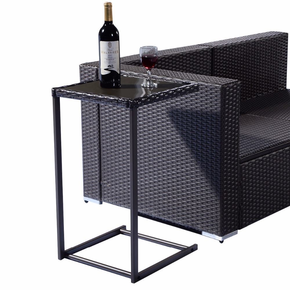 Brown Coffee Tray Side Sofa End Table Rattan PE Wicker Square Glass Furniture  HW52036<br>