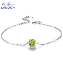 Buy Lamoon 7mm Natural Round Cut Peridot 925 Sterling Silver Jewelry Chain Charm Bracelet S925 LMHI039 for $10.88 in AliExpress store
