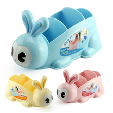 Cute Rabbit Plastic Desk Organizer office Desktop accessories organizer Storage Box