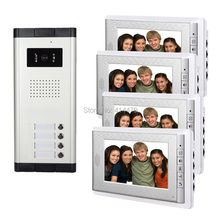 4 Units Apartment Intercom Entry System Wired 7'' Monitor Audio Video Door Phone Bell