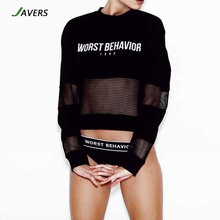 [JAVERS] Women Autumn Long Sleeve Grid Hollow Out Letter Print T Shirt Streewear Baseball Casual Loose Slim Pullover Tees Tops
