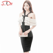 Buy Strapless Ruffles Patchwork Bodycon Vestidos Women Cloth 2017 Summer Halter Neck Sexy Pencil Midi Dresses High Waist Party Cloth