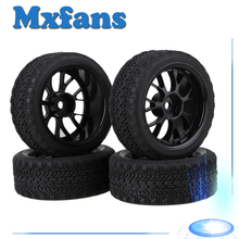 Mxfans 4 x RC1:10 On Road Car High Grip Rubber Tyre & Black Plastic Y Type Wheel Rim(China)