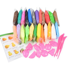 24pcs BOHS Playdough Accessories Tools Free, Clay Plasticine Play Dough 20 Grams/Bag, 24 Colours, Air Dry(China)