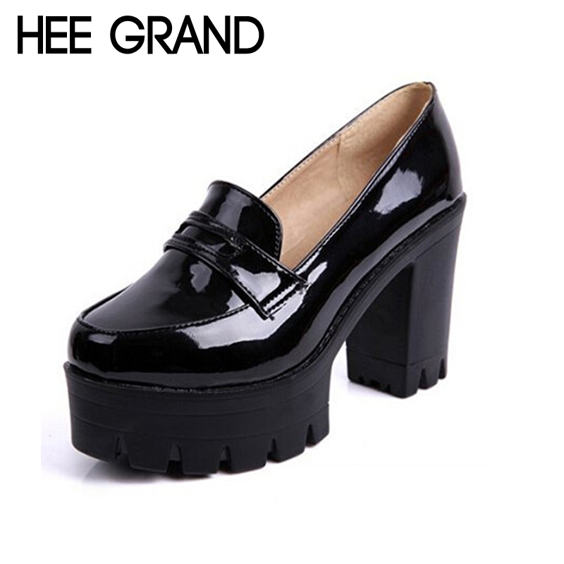 HEE GRAND Fashion Sweet PU Leather Thick Heel Women Shoes, Platform Slip-on Casual Single Shoes For Women Drop Shipping XWD1334<br><br>Aliexpress