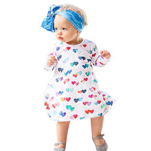 Girls dresses Long sleeve Colorful Hearts Print Princess Dress Baby Kids Girls children Clothes Toddler Outfits drop ship(China)