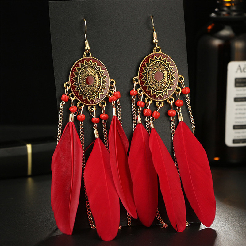 2018 Trendry Earrings for Women Vintage Women Bohemian Fashion Weave Tassel Earrings Long Drop Earrings Jewelry Brincos J05#N (9)