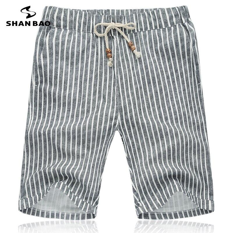 shan bao pantalones cortos de lino del verano ropa de la marca gris a