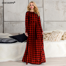 Buy 5XL 6XL elegant maxi Dress big sizes new 2017 Autumn Winter Plus Size long dress Plaid Long Sleeve Casual dress vintage vestidos for $14.88 in AliExpress store